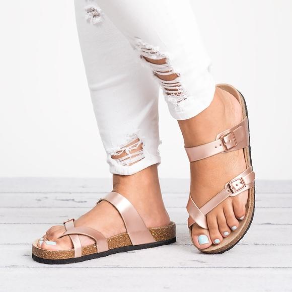 dfec01e92069 Rose Gold Criss Cross Footbed Sandals-21321